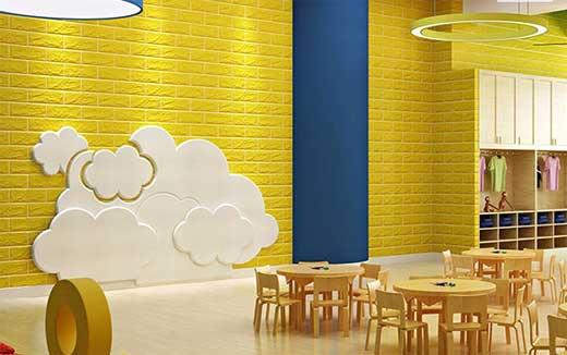 xốp dán tường giả gạch màu vàng