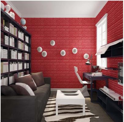 Xốp dán tường giả gạch màu đỏ